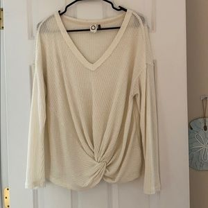 White Anthropologie Waffle Top Size Medium